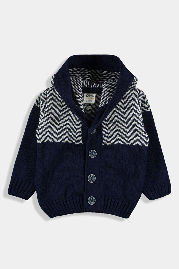 Navy Knitted Hooded Baby Boy Cardigan