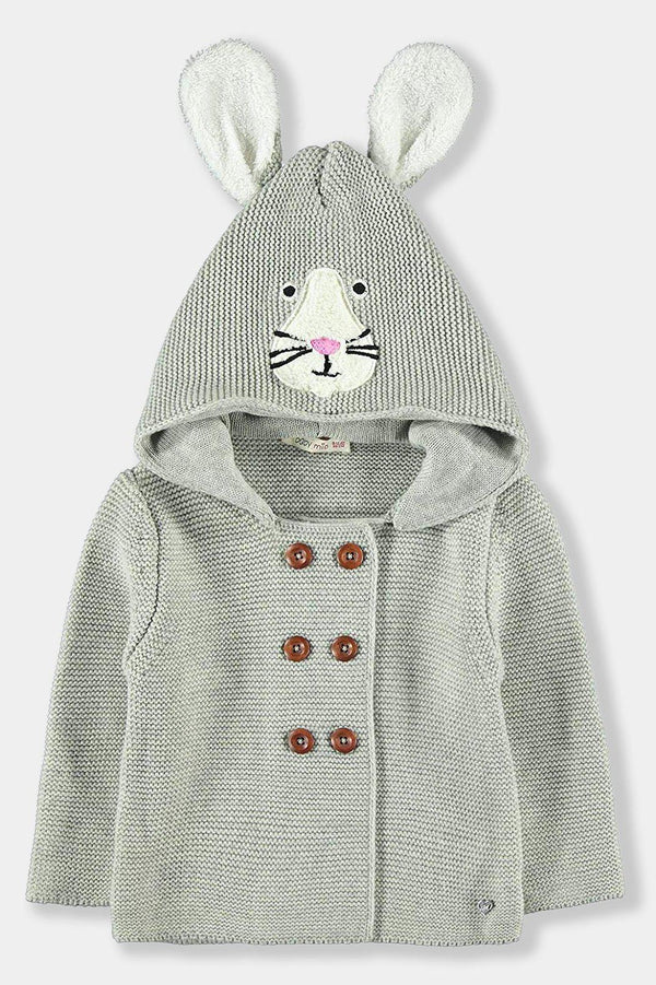 100% Cotton Grey Bunny Cardigan Baby Unisex