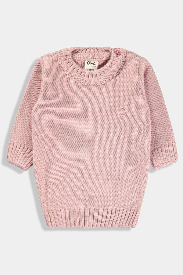 Pink Button Shoulder Knitted Pullover-SinglePrice