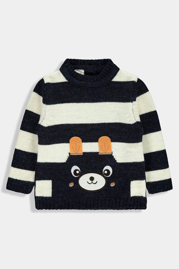 Navy Blue Cute Animal Baby Boy Knitted Pullover