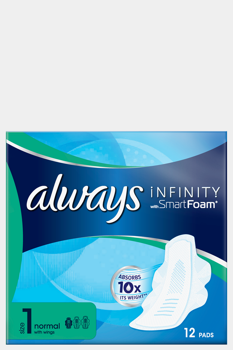 Always Infinity Normal Sanitary Towels With Wings 12's - SinglePrice