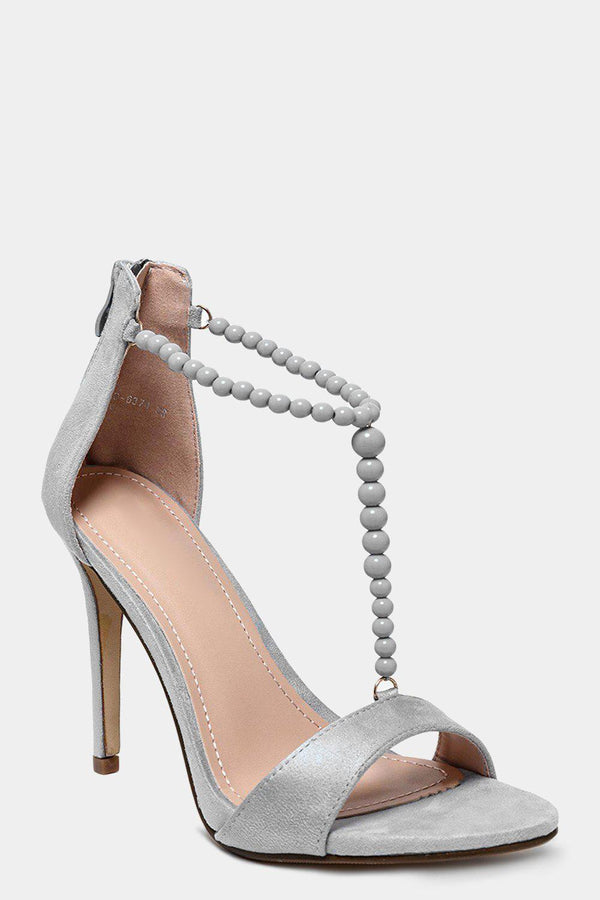 Beaded T-Bar Grey Barely There Heels - SinglePrice