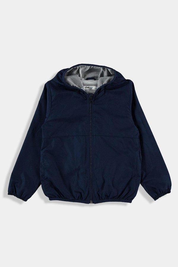 Navy Hooded Baby Boy Windbreaker