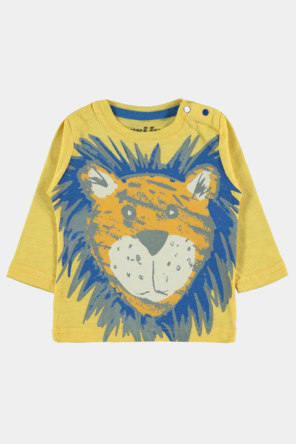 100% Cotton Lion Drawing Yellow Boys T-Shirt - SinglePrice