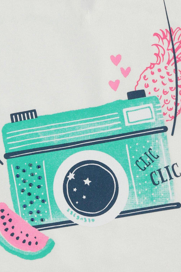 Camera Print Girls T-Shirt - SinglePrice