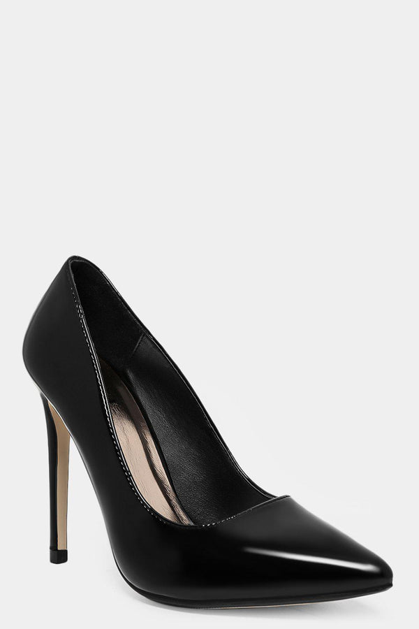 Black Vegan Leather Patent Classic Stilettos - SinglePrice