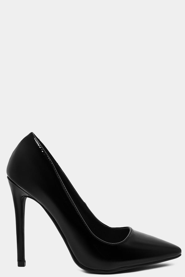 Black Patent Vegan Leather Classic Stilettos - SinglePrice
