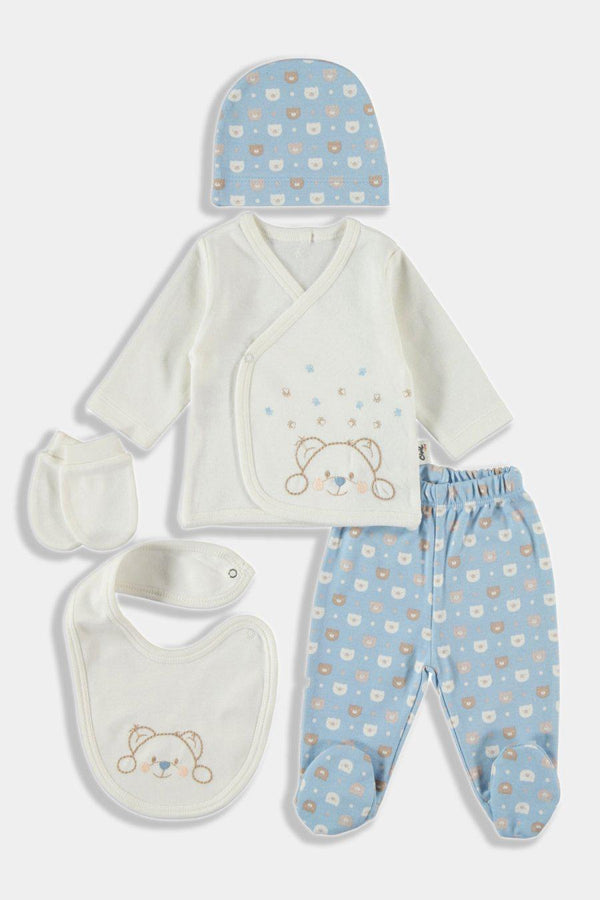 Blue Cuddly Bear Print 5 Piece Newborn Boy Set - SinglePrice