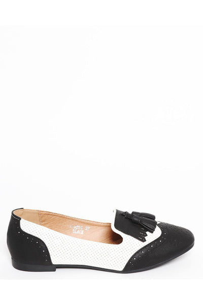 Black Two Tone Brogue Flats-SinglePrice