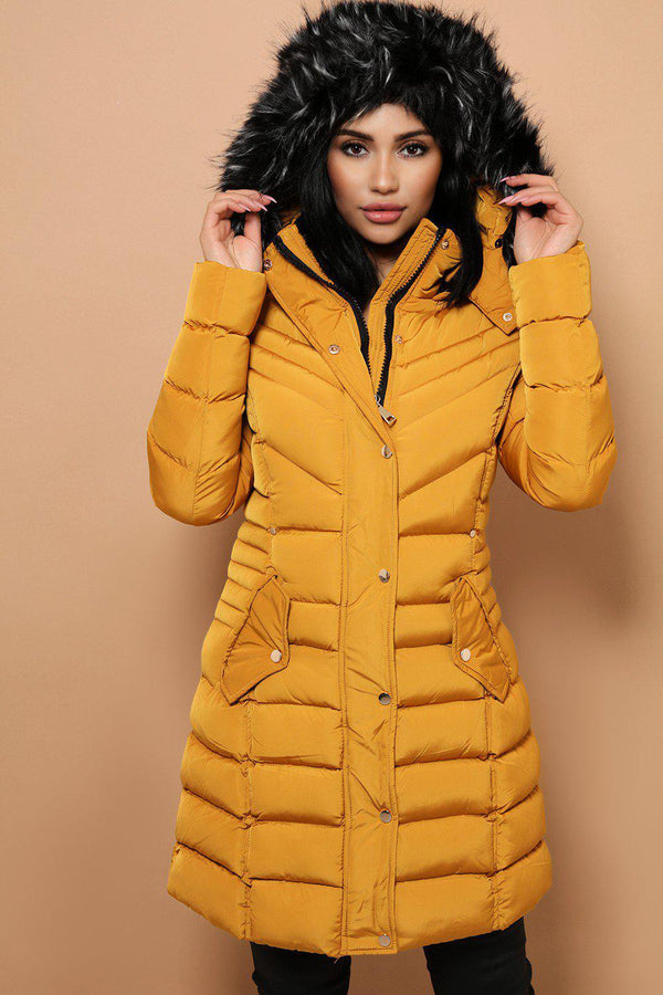 Detachable Faux Fur Hoodie Mustard Padded Parka Coat - SinglePrice