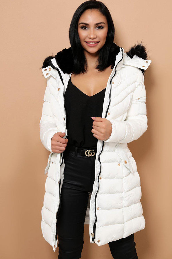 Detachable Faux Fur Hoodie White Padded Parka Coat-SinglePrice