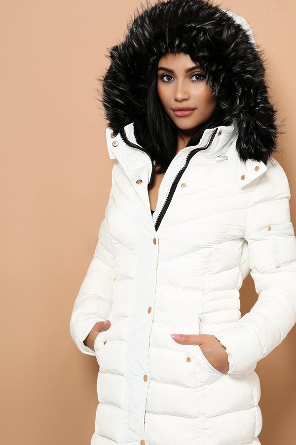 Detachable Faux Fur Hoodie White Padded Parka Coat - SinglePrice