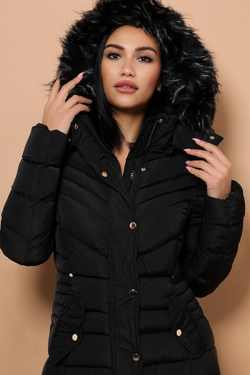 Detachable Faux Fur Hoodie Black Padded Parka Coat - SinglePrice