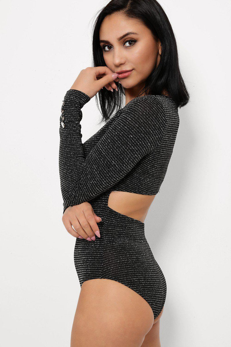 Shimmer Black Cut Out Back Long Sleeves Bodysuit - SinglePrice
