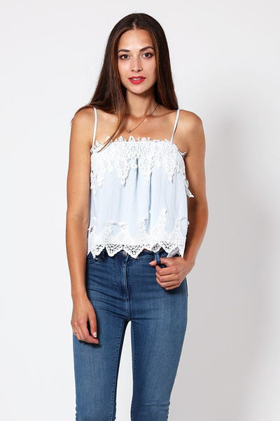 Lace Detail Blue Cami Babydoll Top-SinglePrice