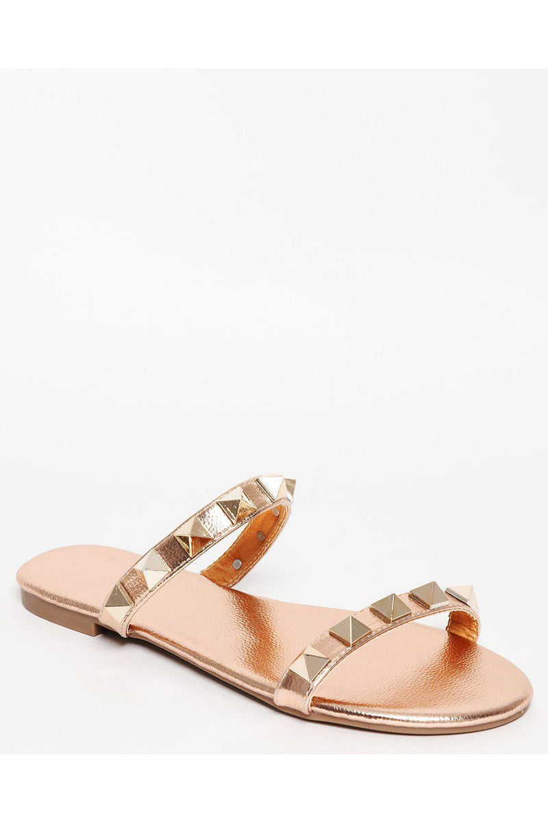 Rose Gold Pyramid Studded Straps Sandals-SinglePrice