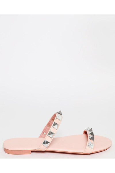 Pink Pyramid Studded Straps Sandals-SinglePrice