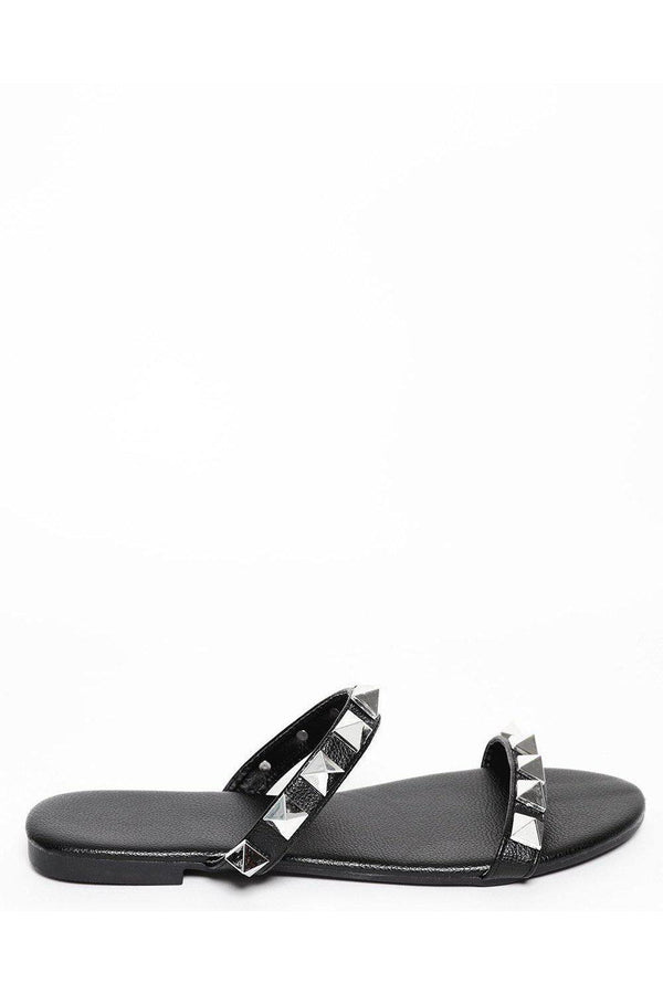 Black Pyramid Studded Straps Sandals-SinglePrice