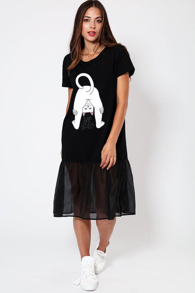 Net Frill Hem Slogan Black T-shirt Dress-SinglePrice