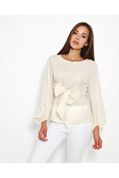 Beige Bow Tie Front Blouse-SinglePrice