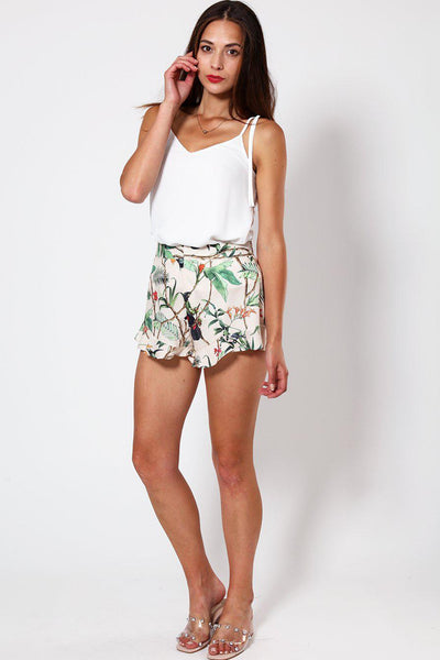 Beige Tropical Print Frilled Shorts-SinglePrice