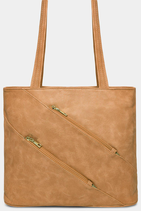 Apricot Diagonal Zips Shoulder Bag - SinglePrice
