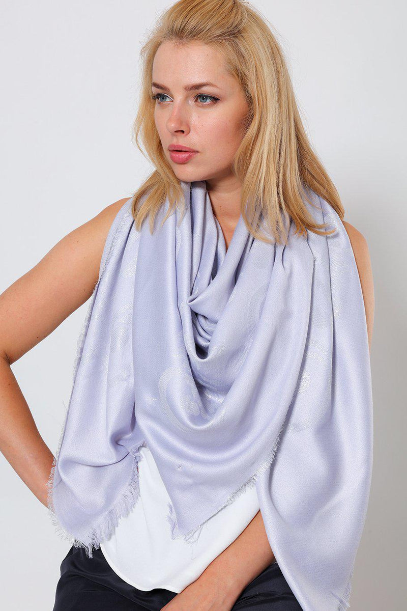 Lurex Floral Design Grey Lilac Square Scarf - SinglePrice