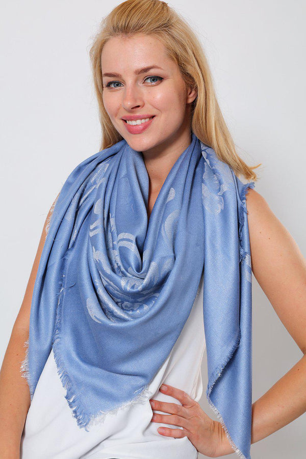 Lurex Floral Design Denim Blue Square Scarf - SinglePrice