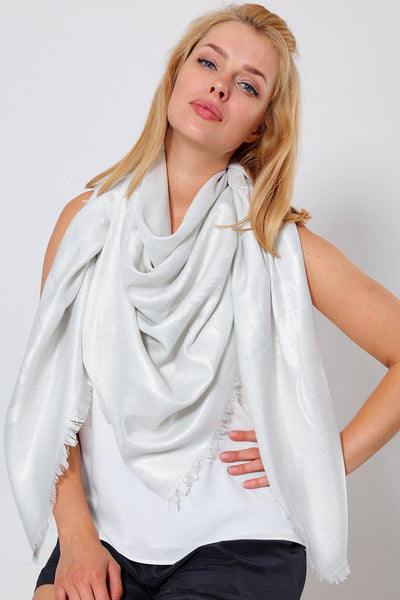 Lurex Floral Design White Square Scarf-SinglePrice