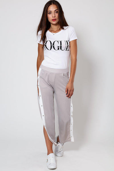 Sports White Stripe Side Button Up Grey Trouser-SinglePrice