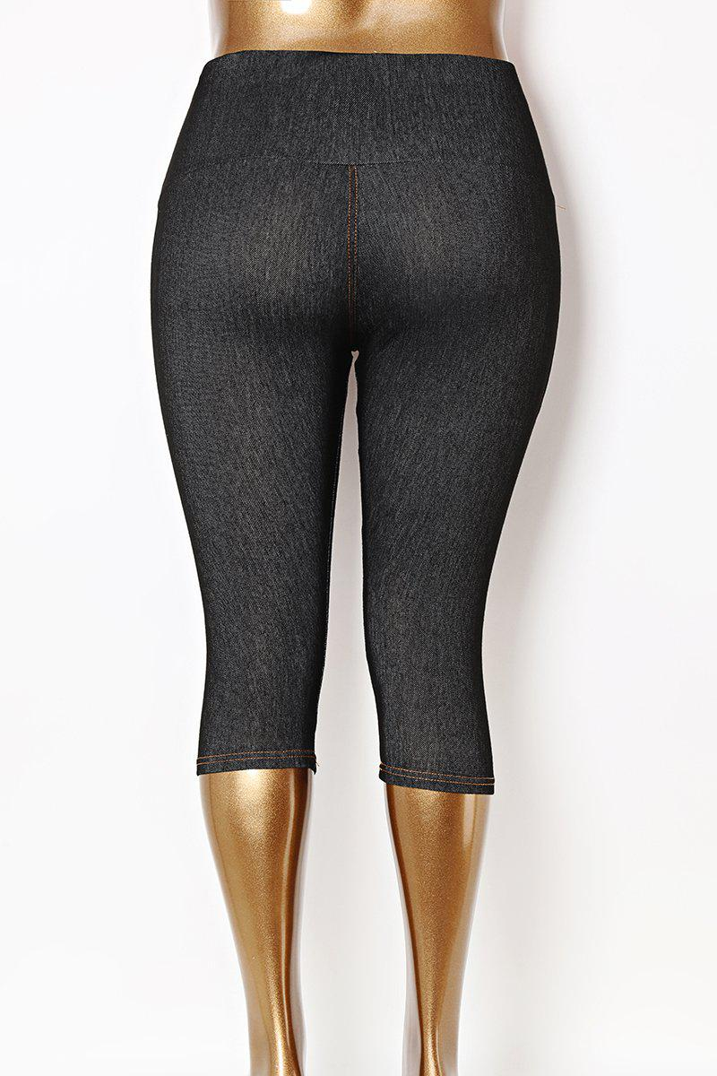 Crystal Buttons High Waist Plus Size Black Stretchy Leggings-SinglePrice