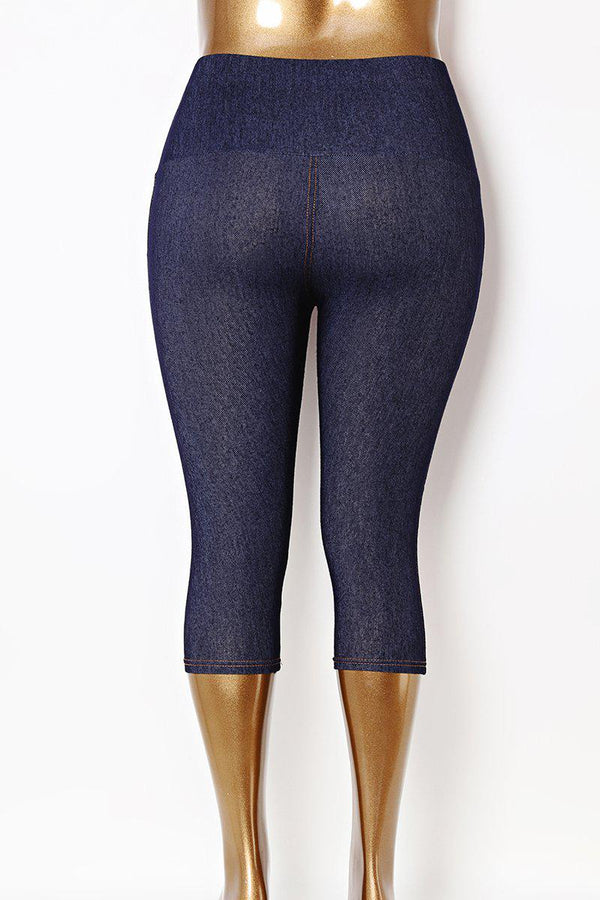 Crystal Buttons High Waist Plus Size Blue Stretchy Leggings-SinglePrice
