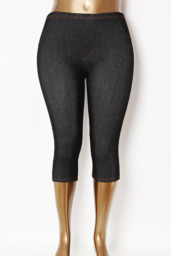 Cropped High Waist Plus Size Black Stretchy Leggings-SinglePrice