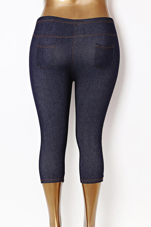 Cropped High Waist Plus Size Blue Stretchy Leggings-SinglePrice