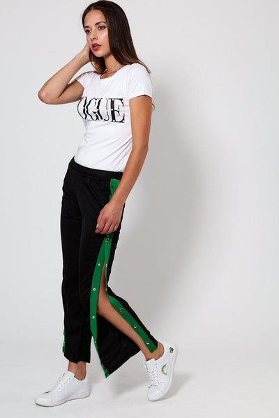 Sports Green Stripe Side Button Up Black Trousers-SinglePrice