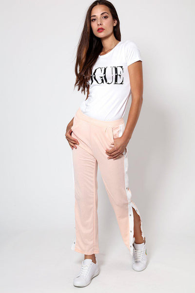 Sports White Stripe Side Button Up Pink Trousers-SinglePrice