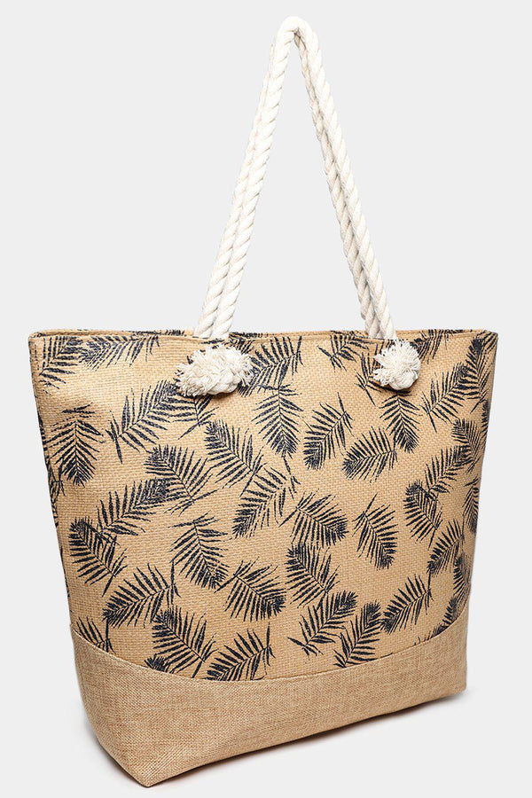 Beige Straw Palm Leaves Print Jute Beach Bag