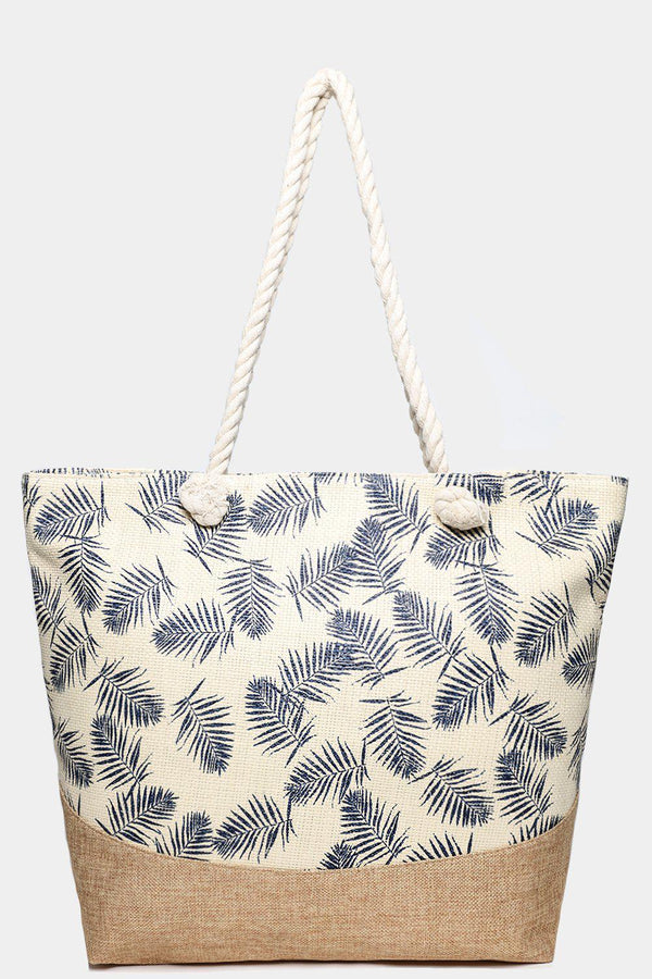 Cream Straw Palm Leaves Print Jute Beach Bag