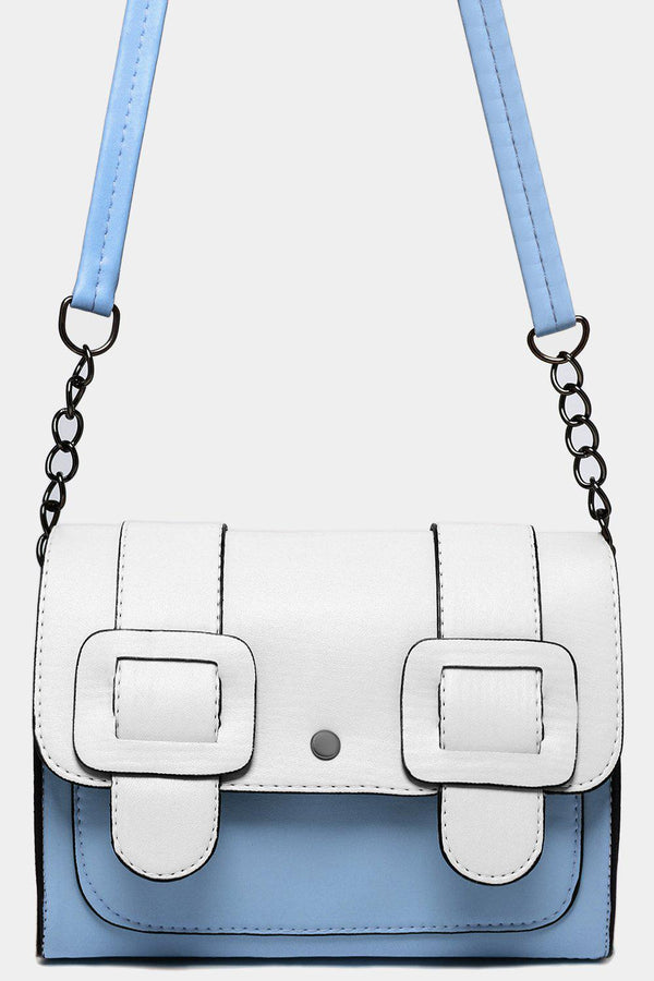 Blue White Color Block Twin Buckle Detail Crossbody Bag