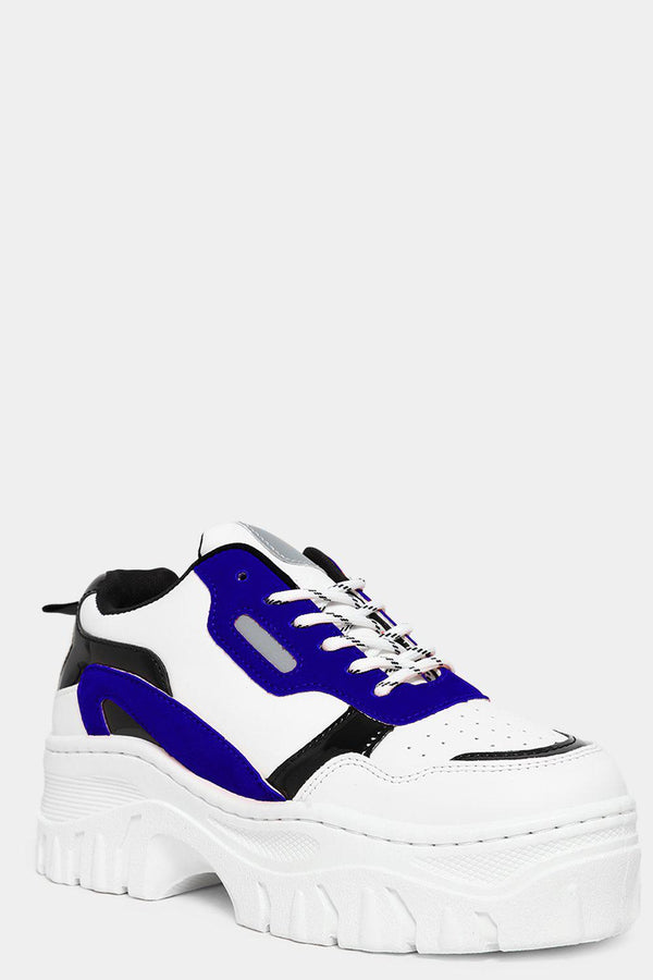 Blue Vegan Suede And Patent Panels White Chunky Trainers-SinglePrice