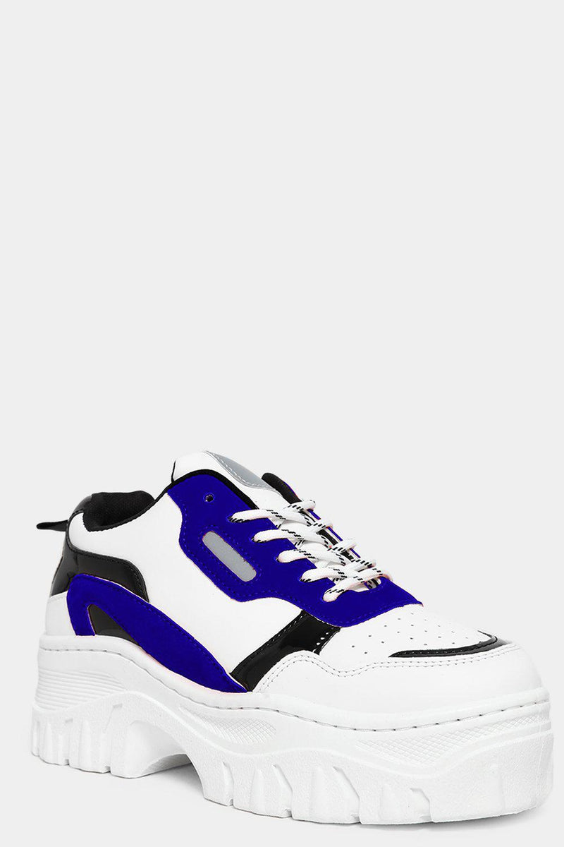 Blue Vegan Suede And Patent Panels White Chunky Trainers - SinglePrice