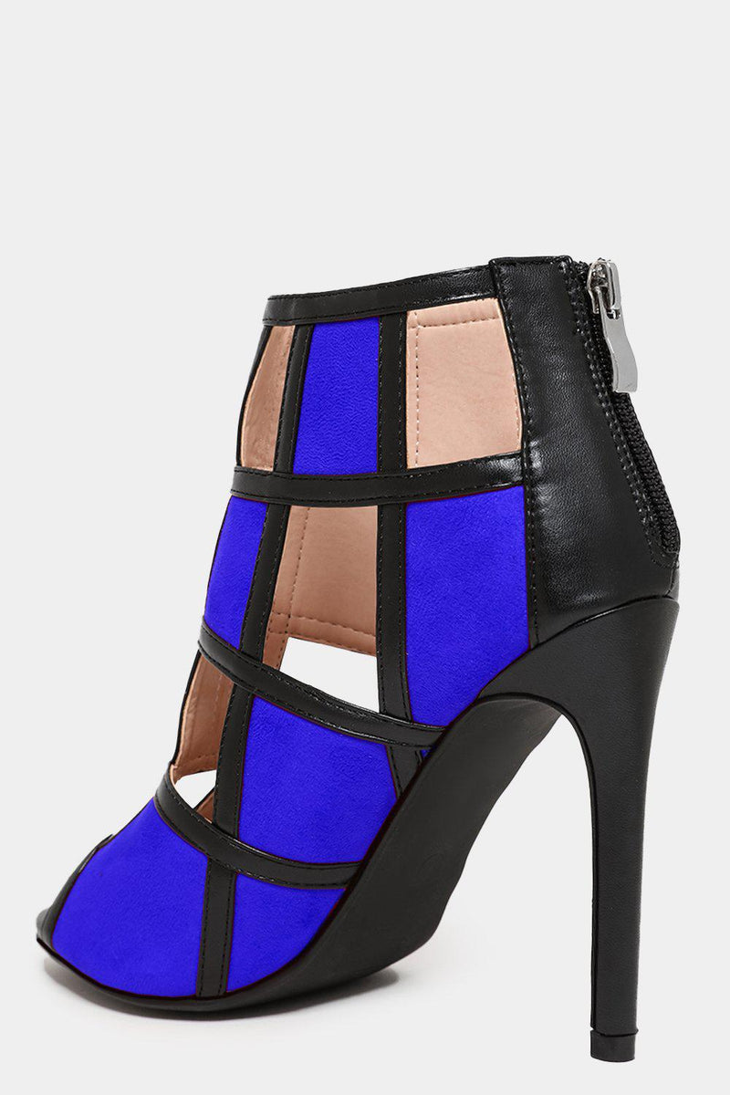 Blue Colour Block Vegan Leather Cage Heels - SinglePrice