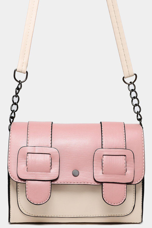 Pink Beige Color Block Twin Buckle Detail Crossbody Bag