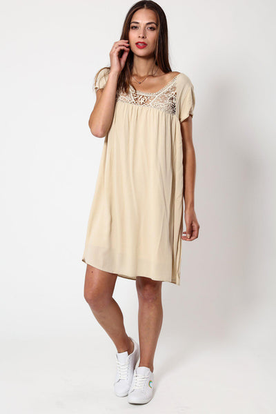 Crochet Detail Beige Summer Dress-SinglePrice
