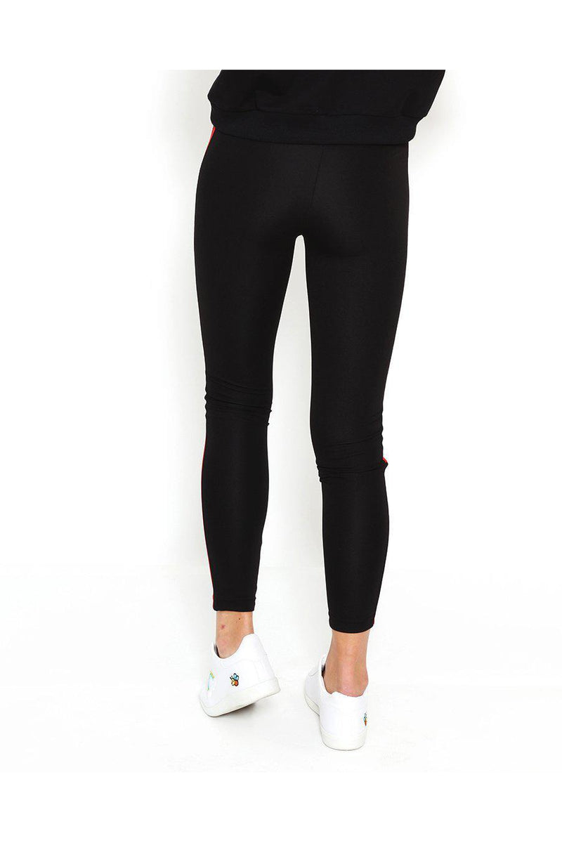 Red Stripe Black Leggings-SinglePrice