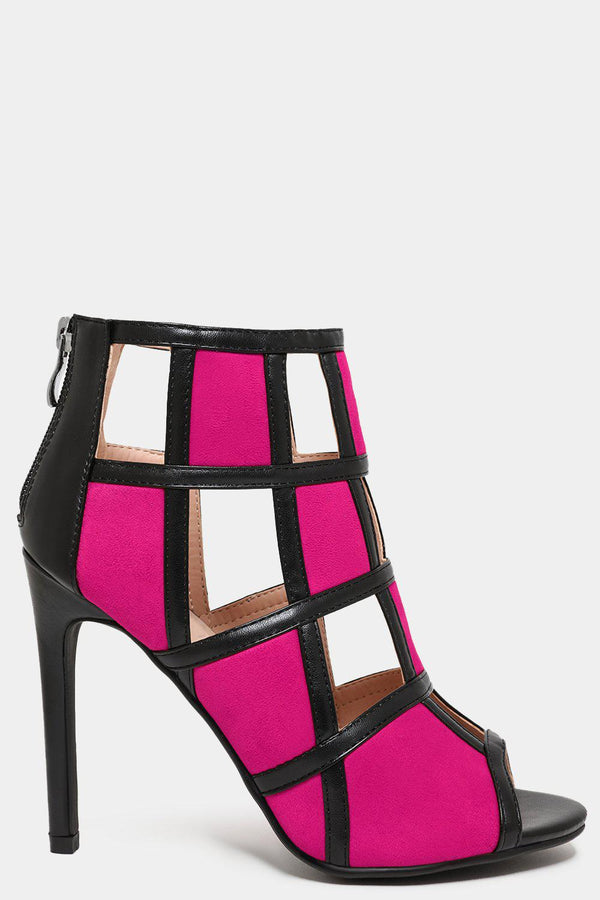 Fuchsia Colour Block Vegan Leather Cage Heels - SinglePrice