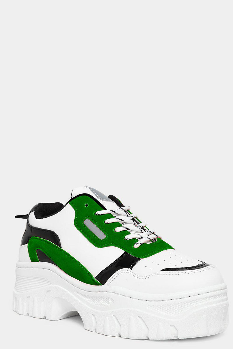Green Vegan Suede And Patent Panels White Chunky Trainers - SinglePrice