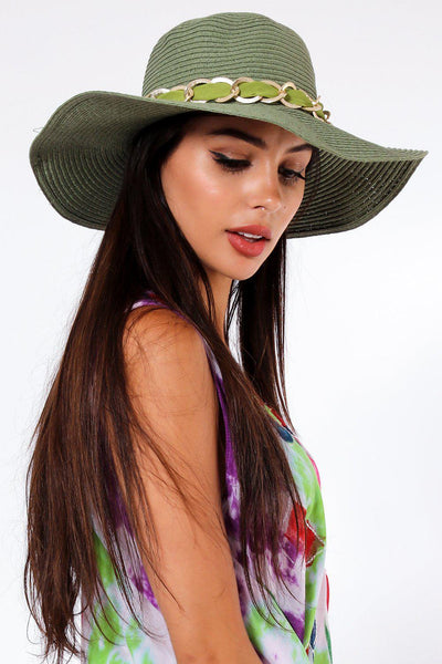 Chain and Bow Detail Green Summer Hat-SinglePrice