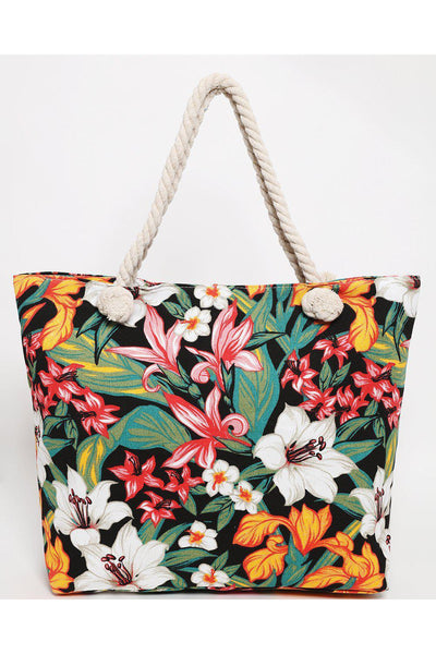 Black Floral Print Beach Bag-SinglePrice