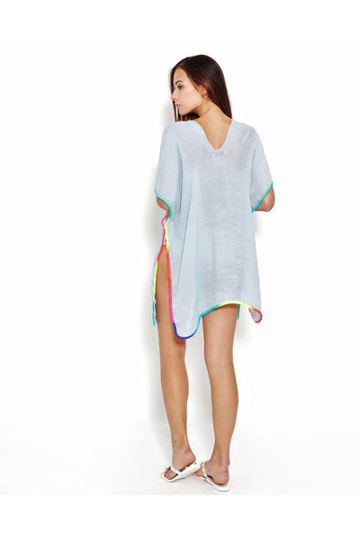 Blue Rainbow Trim Cotton Caftan-SinglePrice